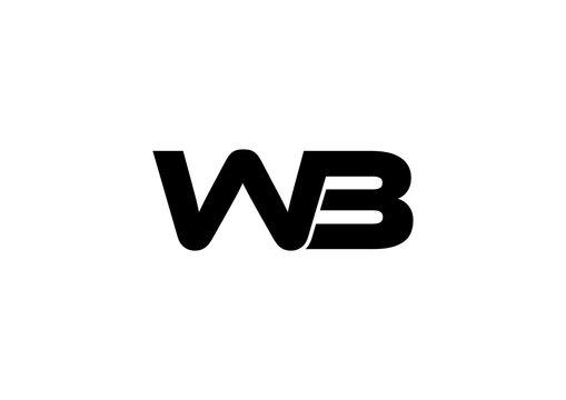 Letter WB simple logo design vector