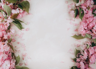 Foto op Canvas Bloemen Sprigs of the sakura tree with flowers and petals on trendy marble background. Place for text. The concept of spring came. Top view. Flat lay
