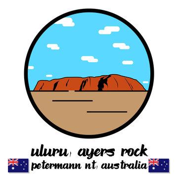 Circle Icon Uluru ayers sand rock mountain in petermann nt Australia vector line icon.