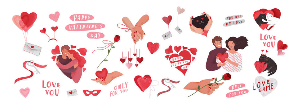 Valentines Day greeting elements set for card or poster Hearts, envelope, happy romantic couple, woven hands, key of heart, lettering typography. Flyers, invitation. Vector design concept