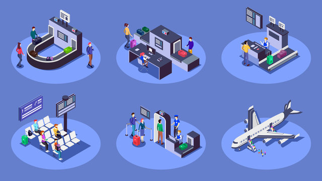 Airport isometric color vector illustrations set. Travelers using airline company services 3d concept isolated on blue background. Check in counter, luggage scanner and security checkpoint