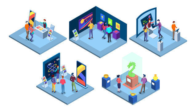 Exhibitions isometric vector illustrations set. Art gallery with abstract paintings, science fair isolated 3d concepts. Historical and technological museums exhibits. Visitors at exposition characters