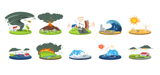 Natural disasters cartoon vector illustration set. Extreme weather conditions. Catastrophe, cataclysm. Flood, avalanche, hurricane. Earthquake, tsunami. Flat color calamities isolated on white Fotomurales