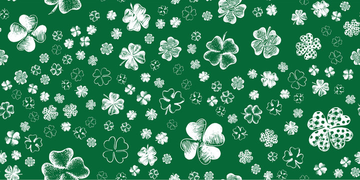 Sketch set clover. St. Patrick's Day. Hand drawn illustration.