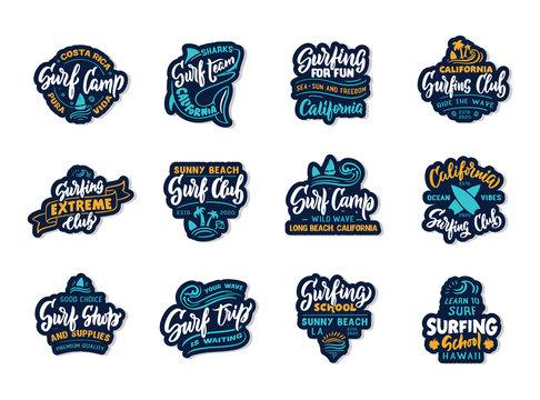 Set of vintage Surfing. Retro emblems, badges, logos, phrases, slogans, stamps. Surf club, school labels