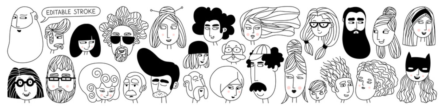 Hand drawn doodle set of people faces. Perfect for social media, avatars. Portraits of various men and women. Trendy black and white icons collection. Vector illustration. All elements are isolated