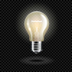 Wall Mural - Light bulb on black background, isolated