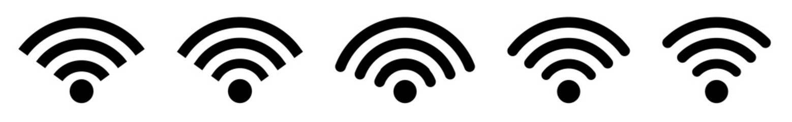 Wifi wireless internet signal flat icon for apps isolated. Wifi icons set. Vector illustration Fotobehang