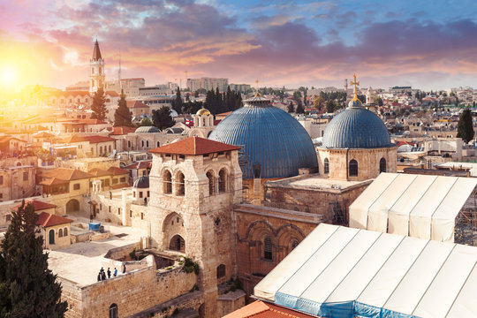 Church of the Holy Sepulcher at sunset, Jerusalem, Israel. Top view.