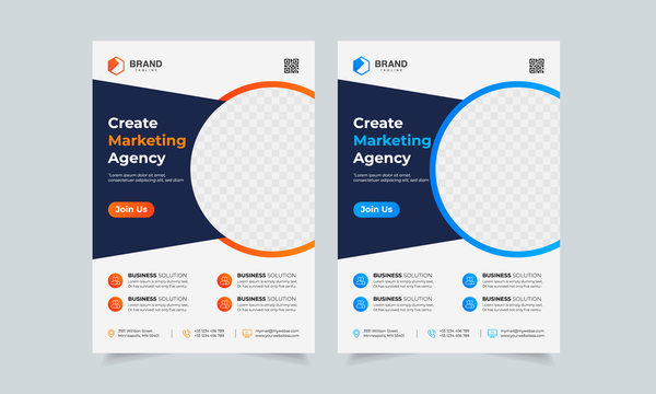 Business Flyer Template Corporate flyer template colorful gradient geometric circle shape