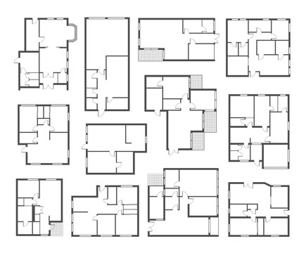 Apartment architectural plans flat vector illustrations set