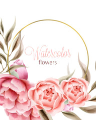 Watercolor rose peonies flowers with brown leaves on background