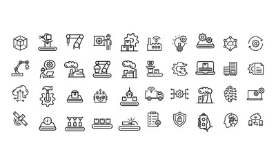 Industry icons vector design black and white