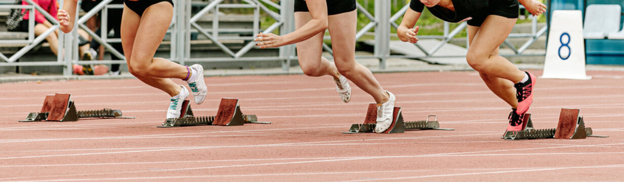 start sprint race women runners athletes in athletics competition