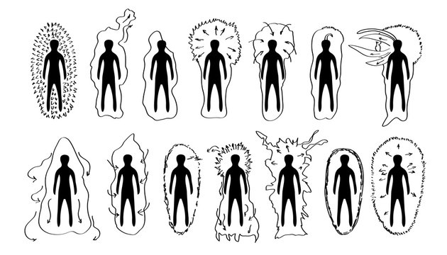 Vector hand drawn black and white versions of the human aura