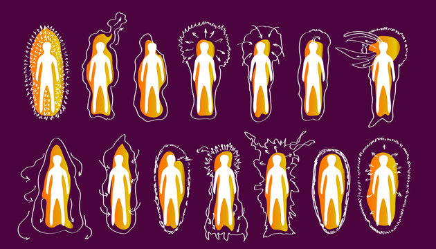 Vector variants of the iridescent Golden aura of a person