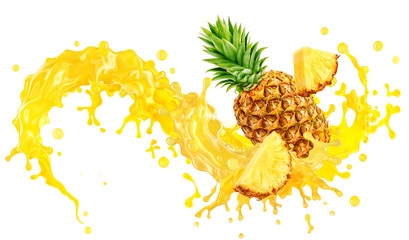 Fotorolgordijn Sap Fresh ripe pineapple, slices cut and pineapple juice splash wave. Healthy food or tropical fruit drink liquid ad label design. Tasty smoothie splash isolated, healthy diet concept on white background