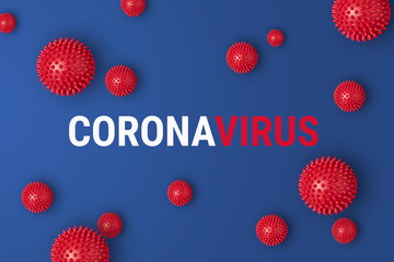 Abstract coronavirus strain model COVID-19. Outbreak Respiratory syndrome and Novel coronavirus 2019-nCoV with text on blue background. Virus Pandemic banner concept