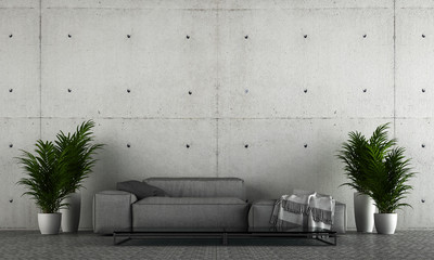 Modern living room interior design and concrete wall texture background