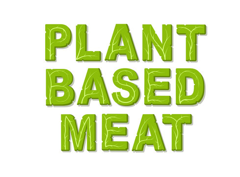 Plant based meat. Design template with place for your text. Isolated vector illustration on white background.