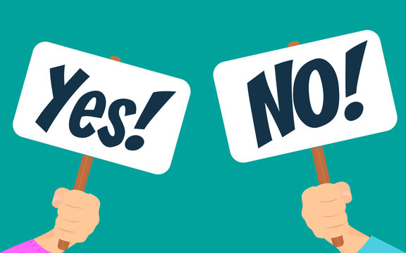Vector illustration of Yes No banner in human hand.