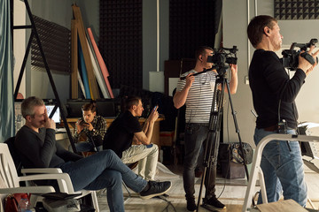 Behind the scenes of video production or video shooting, Film grain, selective focus, special illumination