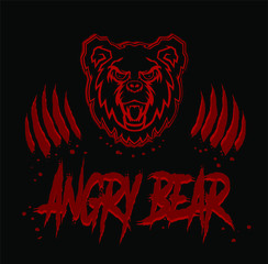 Angry bear head face with teeth and open mouth grunge silhouette stencil drawing illustration in red and black colors with traces of paws with claws.Tattoo,emblem,print for t shirt,sticker,badge,lable