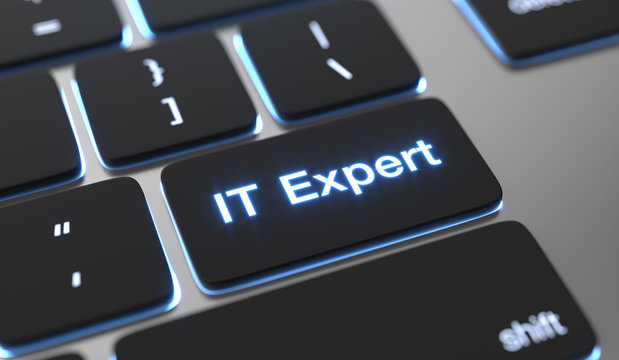 It expert text on keyboard button.