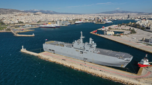 """Aerial drone photo of famous French helicopter  battleship called """"Dixmude"""" docked in port of Piraeus, Attica, Greece"""