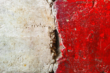 Wall Mural - Grunge red white color concrete flooring surface texture as background