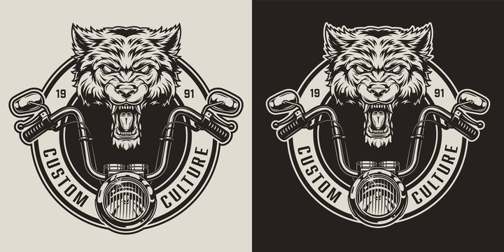 Vintage angry wolf biker mascot badge