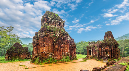 Poster Bedehuis Landscape with My Son Sanctuary complex, ruins of Old hindu temple in Vietnam