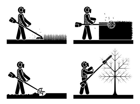 Pictogram icon set presenting different type of trimmer. Cordless Grass Trimmer Cutter Mower Weed Lawn Cutting Garden Edging Ties Tool.