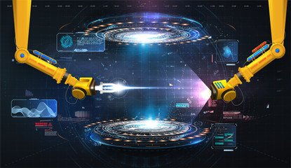 Industrial technology concept. Futuristic circle vector HUD, GUI, UI interface screen design. Abstract style on blue background. Factory automation. Smart factory. Design innovation concept background