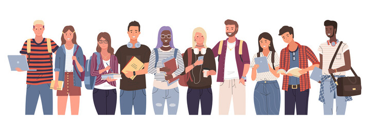Multicultural students group, international people vector. Different nation young girls and boys holding books and laptop, isolated characters with backpacks. Happy teenagers in casual clothes, youth