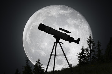 Silhouette of telescope and big moon in background. Astronomy and exploration of universe concept.