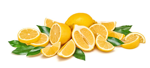 Lemon fruit, slices, leaves isolated on white. Juicy healthy vitamin C food. Organic whole, cut lemons citrus fruits. Creative composition for freshness detox vegan lemon juice.