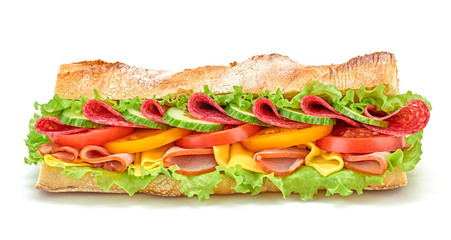 Poster Snack Fresh submarine sandwich with ham, cheese, salami, tomato, lettuce salad, cucumber isolated on white. Colorful tasty baguette homemade large sub sandwich with vegetables. Fast food concept