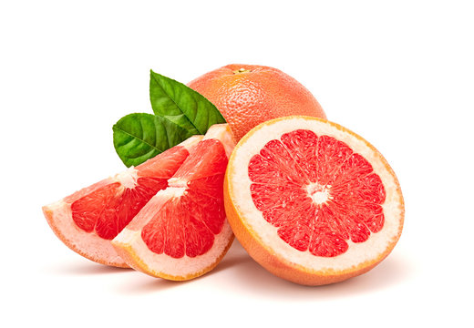 Grapefruit fruit, slices, leaves isolated on white. Juicy healthy vitamin C vegan, weight loss food. Organic whole, cut citrus fruits for grapefruit juice, clipping path. Full depth of field