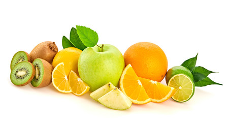 Spoed Foto op Canvas Keuken Fresh fruits healthy diet concept. Raw mixed vegan juicy food background, green apple, orange isolated on white. Variety of fresh citrus fruit for detox juice or smoothie.