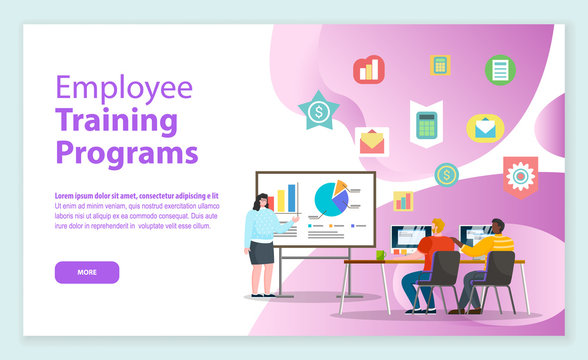 Employee training programs, female character teaching workers. Improvement of skills and knowledge base of personages of company. Website or webpage template, landing page, vector in flat style