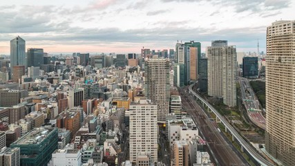 Wall Mural - Tokyo cityscape skyline day to night time lapse in Tokyo, Japan