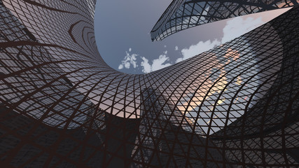 Contemporary Architecture. Framed structure. 3D rendering
