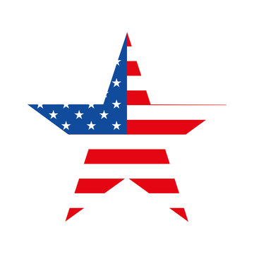 star with american flag on white background