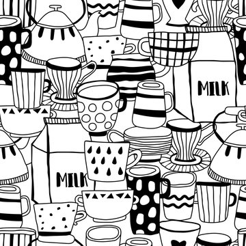 Tea cups, coffee mugs, teapot and milk. Seamless pattern. Black and white illustration for coloring book and page.