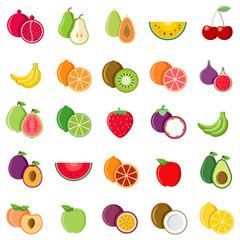 Set icon fruits in flat design cartoon vector illustration on white background
