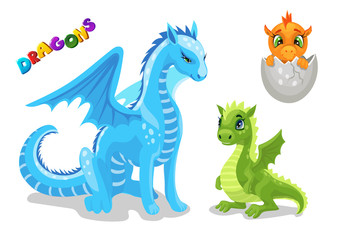 Set of cute dragon character, funny dragon baby, young and adult mother, cartoon vector illustration Cartoon medieval monsters collection