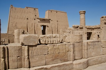 hieroglyphs in an egyptian temple