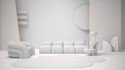 Total white project draft, contemporary living room, sofa, armchair, carpet, coffee tables, decors, frosted glass panels, pendant lamps. Interior design atmosphere, architecture idea Fotomurales