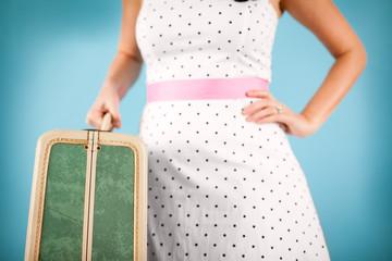Retro Young Woman Holding Vintage Suitcase, Nostalgic Travel